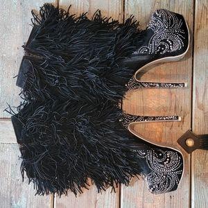Alba rhinestone stiletto fringe boots
